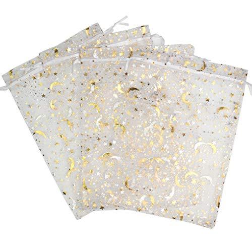 SUNGULF Organza-Beutel mit Kordelzug, Sternen und Mond, für Hochzeit, Party, Schmuck, Süßigkeiten, Geschenktüten, 100 Stück 6x9 inch weiß (Billig Baby Dusche Süßigkeiten)