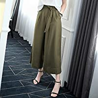 WJP El cordón flojo del verano de los pantalones anchos de la cintura alta de las mujeres era pantalones casuales ocasionales rectos delgados,UN,L