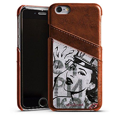 Apple iPhone 4 Housse Étui Silicone Coque Protection Fashion Mode Étui en cuir marron