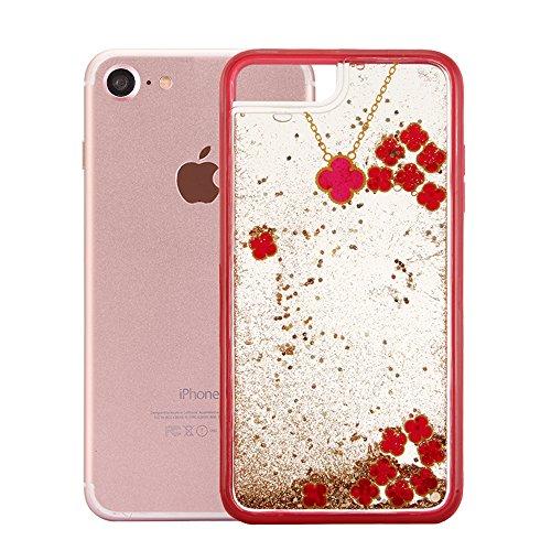 """Coque pour Apple iPhone 6Plus/6sPlus 5.5""""(NON iPhone 6/6s 4.7""""), CLTPY Trèfle Série Housse dans Doux Dual Layer Silicone Plastic en Liquide Flash Etui Protection Cristal Case Glitter Sparkles se écoul Red & Gold"""