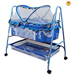 #10: Baybee BabyNest Swing Cradle | Lightweight and Transportable with Mosquito Net-Canopy and Wheels | Suitable For Boys & Girls ( Blue )