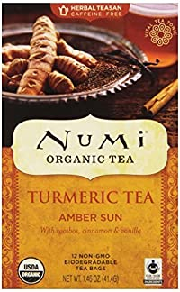 Numi Organic Turmeric Tea - Amber Sun, Blended w/ Rooibos, Cinnamon & Vanilla, 12 non-GMO Tea Bags, 3 Count