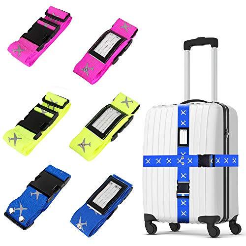Trounistro Koffergurt, 6 Stück Gepäckgurt Einstellbare Kofferband Gepäckband Travel Accessories zum Sicheren Verschließen der Koffers auf Reisen und Kennzeichnen von Gepäck