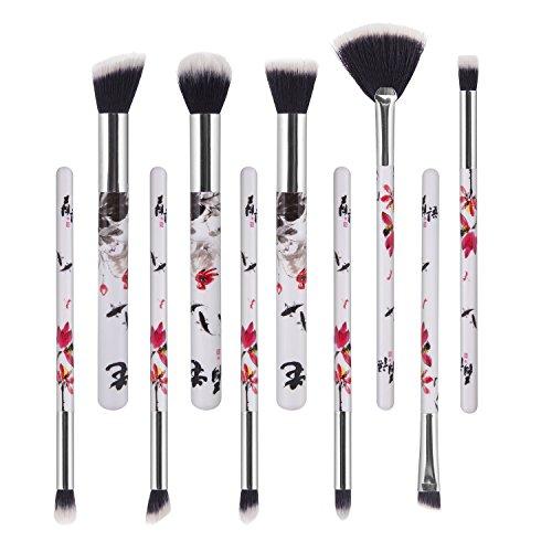 10 Stück Makeup Pinsel,Yedda Neustes Makeup-Pinsel-Set Synthetische Puder Lidschatten,Augenbrauen,Nasen,Fächer/-pinsel mit ()