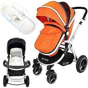 iSafe Baby Pram System 2in1 - Orange + iSafe Luxury Bedding (Cream)   15