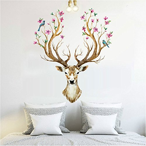 Aufkleber, Kancil Sika Deer 3D Home Kinderzimmer Wanddekoration Removable DIY Wandaufkleber Aufkleber für Kinder Jungen Mädchen Schlafzimmer Wohnzimmer Showcase (Sie Sind Mein Sonnenschein-dekor)