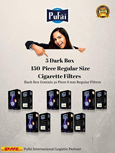 Zigarettenfilter. 150 Stück (5 dunkle Box * 30 Filter) Einweg normale Größe [8 mm] Zigarettenfilter Halter. Neues 8-Loch-Filtersystem von Pufai (Kohle-faser-filter)