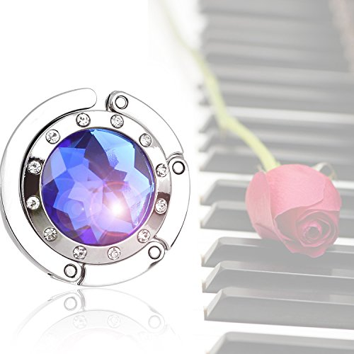 Bingsale® - Reggiborsa con gancio pieghevole e cristallo effetto zaffiro, colore blu Dark Blue