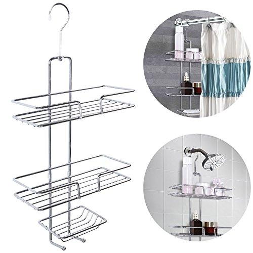 Lifewit Duschkorb Duschregal zum Hängen Duschablage mit 3 Körben ohne bohren Regal Dusche Hängeablage Verchromter Stahl Rostfrei (Verchromte Draht-körbe)