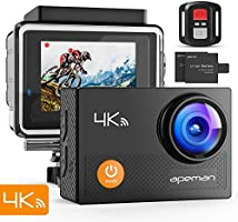 Apeman 4K Action Waterproof Camera 12MP Ultra Full HD Wi-Fi Sport Cam 30M Diving Underwater Camera with 2.0 Inch LCD Screen 170 Degree Wide View Angle/2.4G Remote Control/2 Rechargeable Batteries