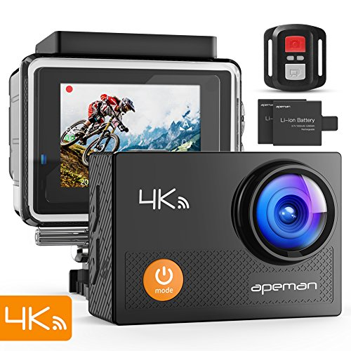 APEMAN 4K Action Cam Wi-Fi 20MP Ultra FHD Impermeabile 30M Immersione Sott\'Acqua Camera con Schermo 2 Pollici 170 Gradi Ampia Vista Grandangolare/Telecomando 2.4G/ 20 Accessori all\'Interno