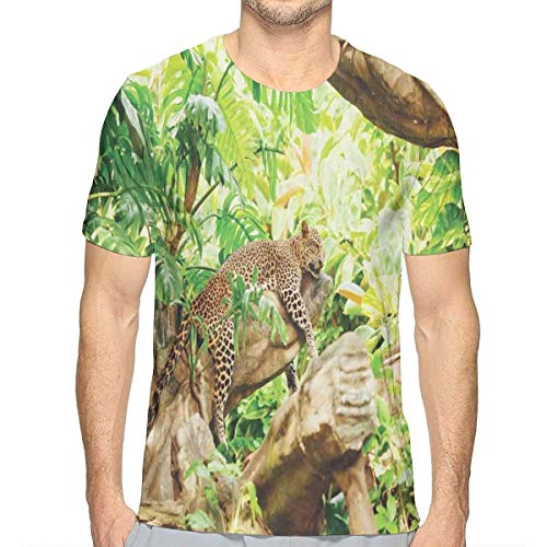 3D Printed T Shirts,Leopard On The Branch In Savannah Exotic Macro Tropical Leaf Jungle Wild Nature Art S