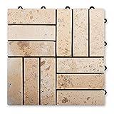 casa pura Naturstein Terrassenfliesen Rustique | aus Limestone | praktisches Klicksystem | Anzahl wählbar (24 Stück)