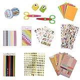 KATELUO Scrapbooking kit,59 pcs Pack Accessoires Décoratifs pour DIY Album Photo, Rubans en Dentelle, Bandes Adhésives,Carton Autocollants Décoratifs,Crayon (59PCS)...
