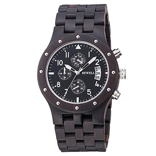 en bois montre bracelet pour homme Affichage de la date Fonction chronographe...