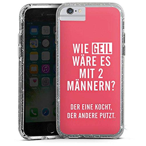 Apple iPhone 6 Bumper Hülle Bumper Case Glitzer Hülle Frauen Humor Phrases Bumper Case Glitzer silber
