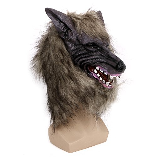 ostüm Maske, Latex Tier Wolf Kopf mit Haarmaske für Halloween-Party ()
