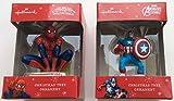 Hallmark Marvel Avengers Assemble Captain America et Spiderman Décoration de sapin de Noël Lot de 22015