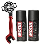 Motul C1 Chain Clean and C2 Chain lube (150 ml) with GrandPitstop Bike Chain Cleaning Brush Red