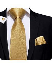 CAOFENVOO Cravate Hanky Cufflinks solides Jacquard en soie tissée cravate  de soirée de mariage une affaire 2726d315d33