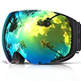 Ski Goggles, COPOZZ G2 Skiing Goggles For Snowboard Jet Snow - For Women Men Ladies Youth Teen - Magnetic Interchangeable Lens - OTG Over Glasses Anti Fog Helmet Compatible Sunglasses - Black Gold