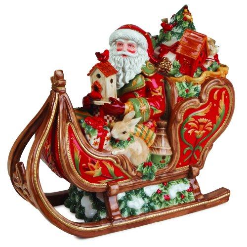 Fitz & Floyd 63-443 Bellacara Keksdose aus Keramik Santa & Schlitten 8