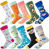 Herren Lustige Bunte Socken,Herren witzige Strümpfe, Fun Gemusterte Muster Socken, Verrückte Socken Modische Mehrfarbig Klassisch als Geschenk, Neuheit Sneaker Crew Socken (10 Paar-Flamingo 5)