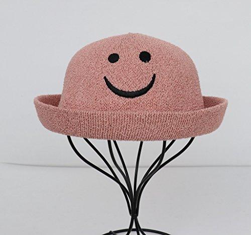 Smile YKK Enfant Vogue Chapeau Melon Oreille de Chat Broderie Expression Solaire Sourire Rougeâtre