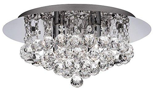 Lacasa Bedding Hanna 4 Light Flush Ceiling Crystal IP44 Bathroom Light - 4404-4CC 08QW#D