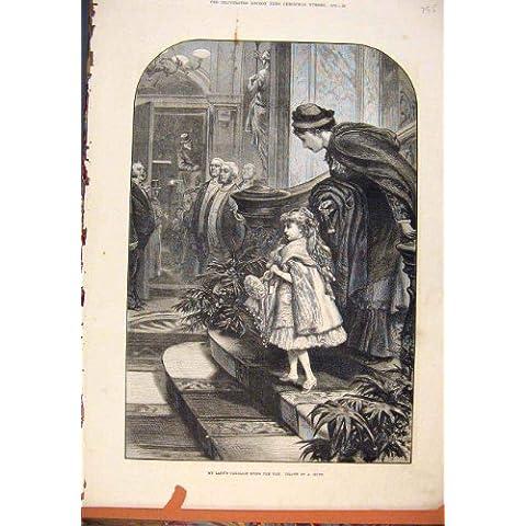 Stampa Antica 1878 del Carriage Child Signora
