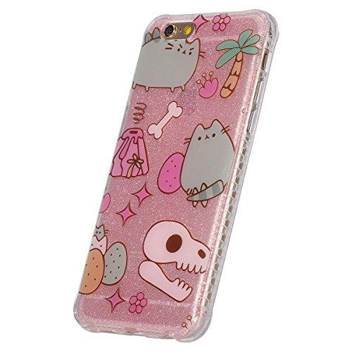 Custodia iPhone 6, ISAKEN Cover per Apple iPhone 6 (4.7) [TPU Shock-Absorption] - Glitter Bling Scintille Argento Colorate Pattern Design Custodia Case Ultra Sottile TPU Morbido Protettiva Cassa Bump cartoon gatto