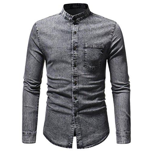 TiaQ Hommes Automne Hiver Vintage Distressed Solid Denim Chemise Manches Longues T-Shirt Patchwork Manchette Blouse (L, Gris) par  TiaQ