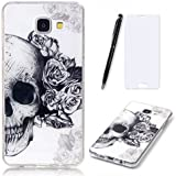Lotuslnn Samsung Galaxy A3 2016 Coque,Samsung Galaxy A3 2016 /SM-A310 TPU Silikon Etui Transparent Housse Cases and Covers (Coque+ Stylus Pen + Tempered Glass Protective Film)- Skull