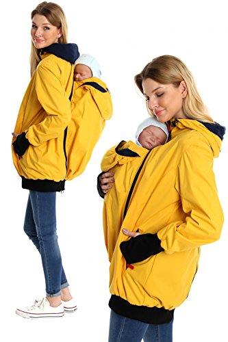 GoFuture Damen Tragejacke für Mama und Baby mit 2 Tragepositionen 5in1 Känguru aus Concordia Shell und Baumwolle SommerAmMeer GF2066 Gelb mit marineblauem Innenfutter