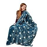 Pink Papaya Snug Me Supersoft Stars, Kuscheldecke mit Sternenmuster, Maße: 150 x 200 cm, Farbe: Anthrazit/Perlmutt