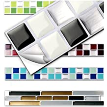 Wandora 7 Stück 25,3 X 3,7 Cm Schwarz Weiß Silber Fliesenaufkleber Design