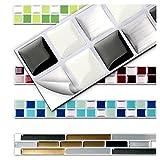 7 Stück 25,3 x 3,7 cm schwarz weiß silber Fliesenaufkleber Design 3 I Küche Bad Fliesendekor selbstklebend 3D Mosaik Aufkleber Wandora W1431