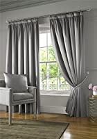 "Silver Faux Silk Sateen Thermal Lined 66"" X 90"" - 168CM X 229CM Pencil Pleat Curtains from Curtain Unique"