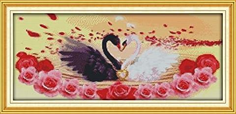 YEESAM ART Neu Kreuzstich Stickpackung - Swan Liebe Paare Lover 14 CT 52x25 cm DIY Stickerei Set Weiß Segeltuch - Kreuz Nähen Handarbeit Weihnachten Geschenke Cross Stitch (Designer Christmas Tree Topper)