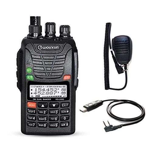 WOUXUN KG-UV6D 4m/2m 66-88/136-174MHz Dualband Amateurfunk PMR-Handfunkgerät (mit USB Programmier-Kabel und Mikrofon) -