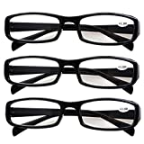 Southern Seas 3 Pairs (Black Frame) Womens Mens Durable Reading Glasses Spectacles Strength +2.00