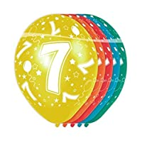 Folat 19307 7th Birthday Balloons - 5 pieces, Multi Colors