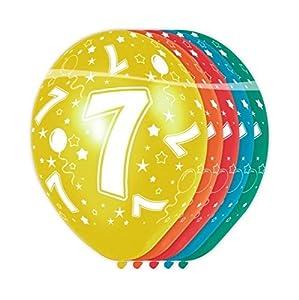 Folat - Globos con el número 7 (5 unidades, aptos para helio)