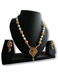 18k Gold Plated Copper Kundan Necklace Set With Earings