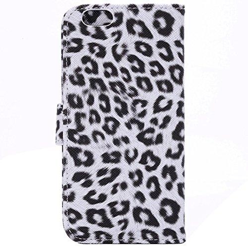 JING Etui en cuir Flip Case imprimé léopard avec embouts et support pour iPhone 6 et 6S ( Color : White ) White