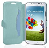 Cadorabo Hülle für Samsung Galaxy S4 MINI - Hülle in ICY BLAU – Handyhülle mit Standfunktion und Kartenfach im Ultra Slim Design - Case Cover Schutzhülle Etui Tasche Book