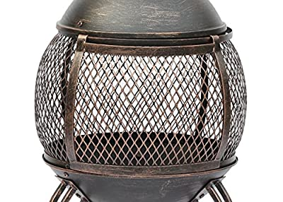 Lado Large Bronze 89cm Large Open Bowl Mesh Cast Iron Chiminea Patio Heater Black Bronze from Lado