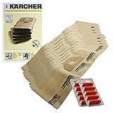 Original Kärcher A2254A2534MV3Staubsauger Dual Filter Staubbeutel (10Stück + 10Lufterfrischer)