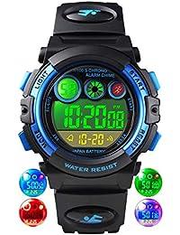 Relojes de Pulsera para niños, Reloj Digital a Prueba para niños a 50 m con 12/24H /Alarma/Luz de Colores EL,…