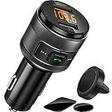 Bluetooth FM Transmitter, QC3.0 Wireless Radio Adapter, Bluetooth Auto Transmitter mit Magnethalterung und Platte, Hand Frei Beruf, Dual USB Ladegerät, Musik Spieler